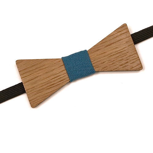 Noeud papillon en bois, chêne massif recyclé, tissu lin Bleu Canard