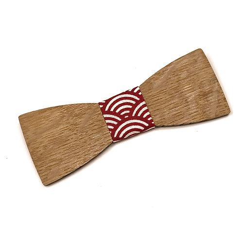 """Noeud Papillon Bois """"Le Dandy"""" - Chêne massif recyclé et tissu japonais motif traditionnel rouge"""