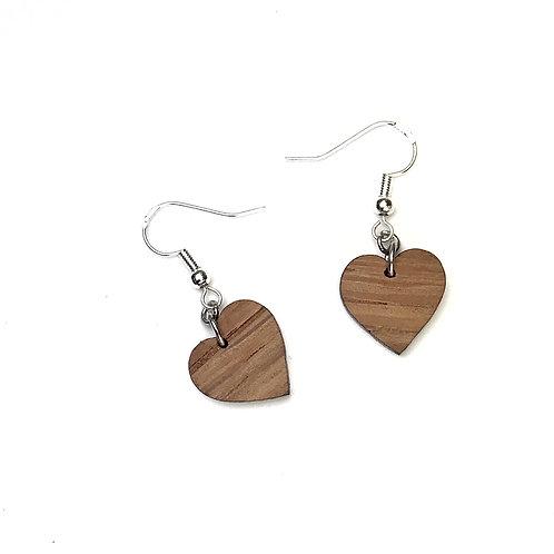 Boucle d oreille bois forme Coeur