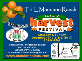 7th Annual Harvest Festival, December 2nd & 3rd 2017 from 10 AM to 4 PM.