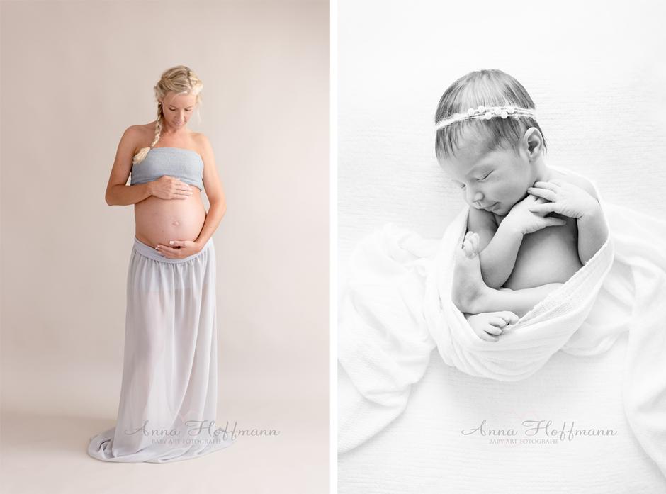 Dezente Babybauch- & Babyfotos Studio I Maxime 5 Tage alt