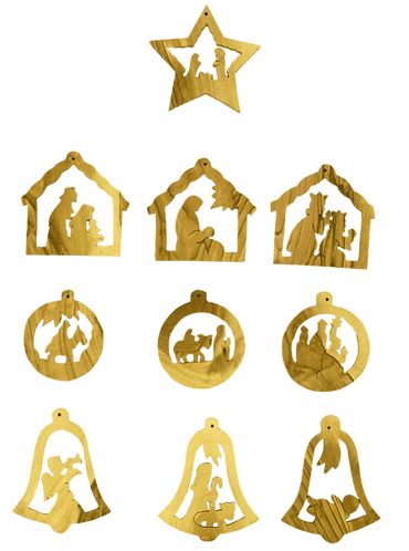 Christmas Tree Ornaments, Set of 10