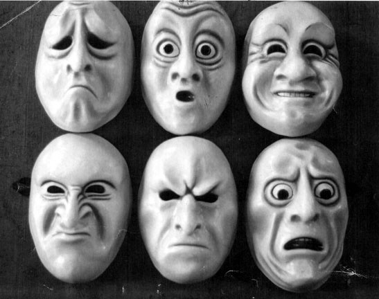Ekman's six basic emotions. Masks made by Melody Anderson.
