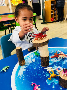 Balancing the dinosaur on top of the wooden blocks and building it's habitat