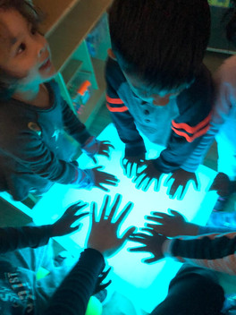 Changing colors to see shadows of their hands