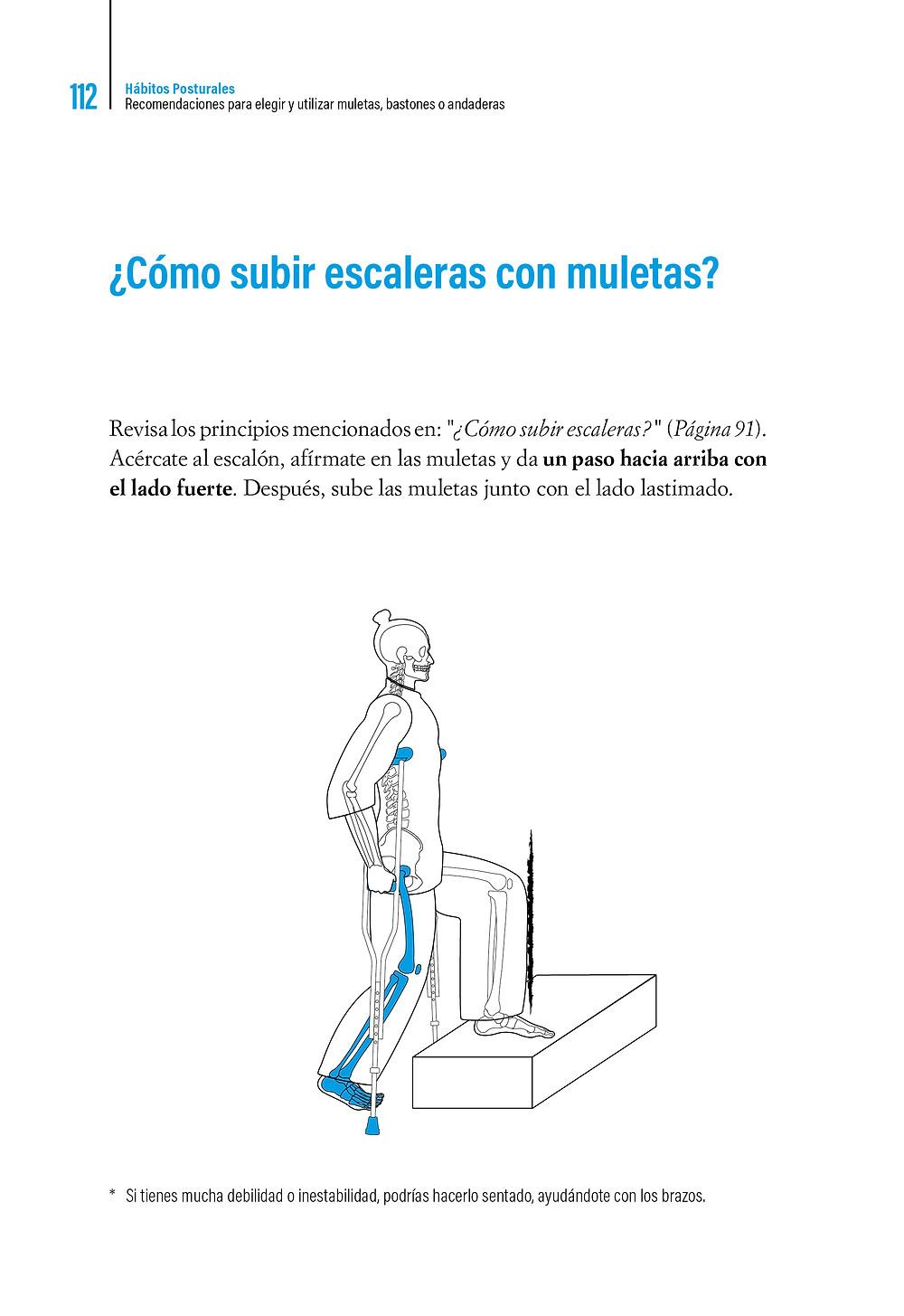 Libro Hábitos Posturales ¿Cómo subir escaleras con muletas?