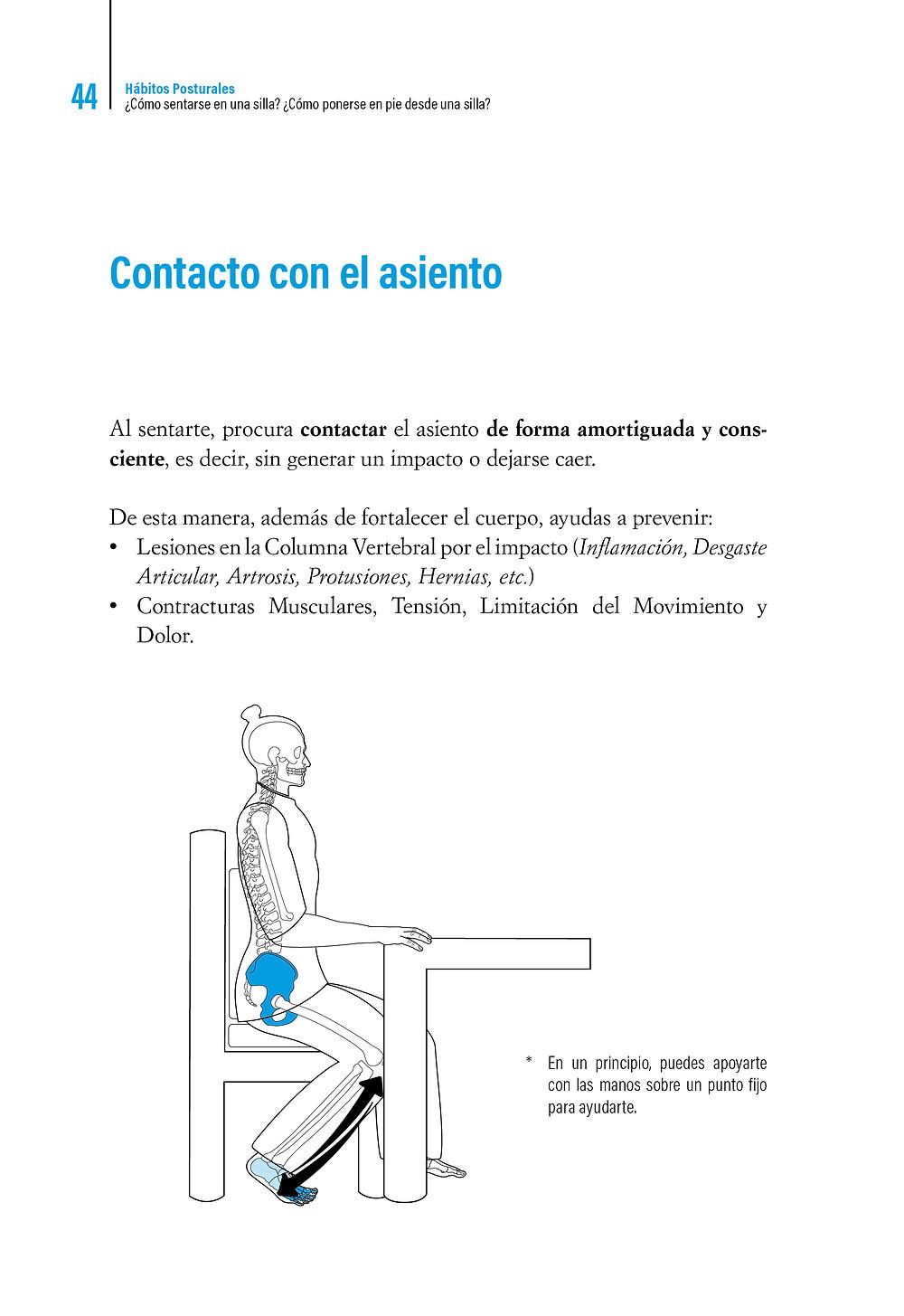     Libro Hábitos Posturales ¿Cómo sentarse en una silla ? Contacto con el asiento