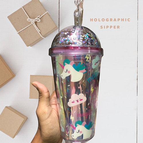 Unicorn Holographic Sipper