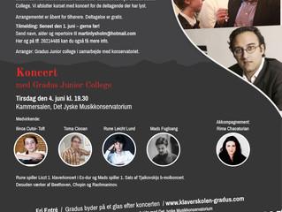 Åbent klaverkursus på Det Jyske Musikkonservatorium d. 9. juni