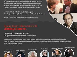 Åbent klaverkursus for unge talenter på Konservatoriet søndag d 4. november