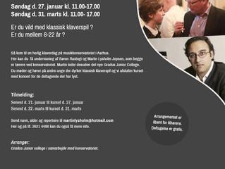 Åbne klaverkurser på DJM d. 27/1 og 31/3