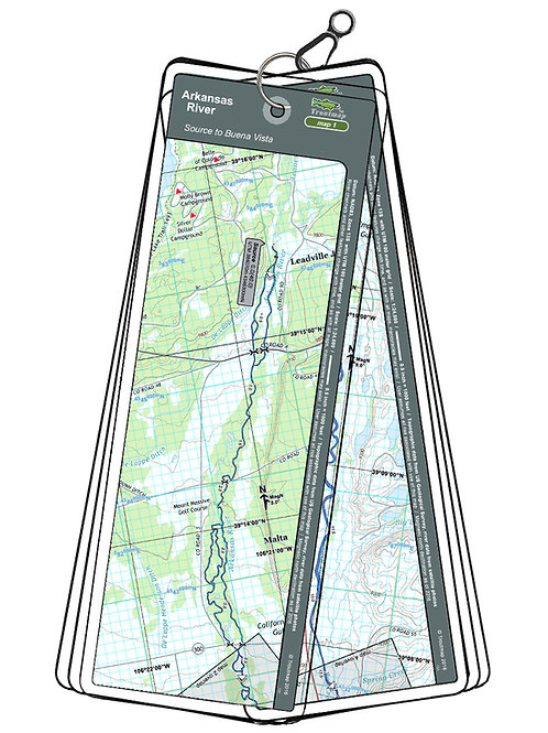 Troutmap laminated river map of the Arkansas River from the Source to Buena Vista in Colorado