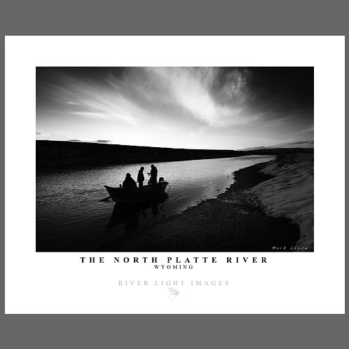 A stunning black and white poster of fishermen on the North Platte river in Wyoming near Casper