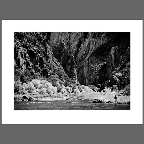 A black and white photograph of the Black Canyon of the Gunnison in Colorado