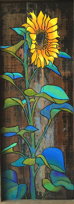 Sun Flower on Wood