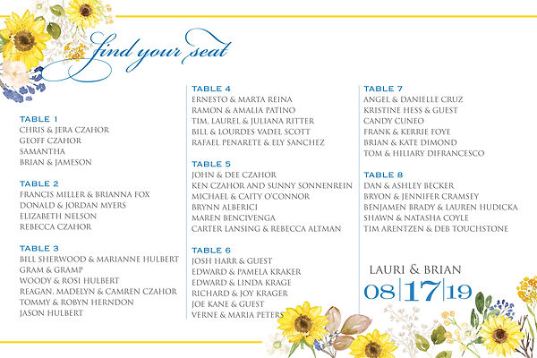 Seating Chart with a sunflower theme