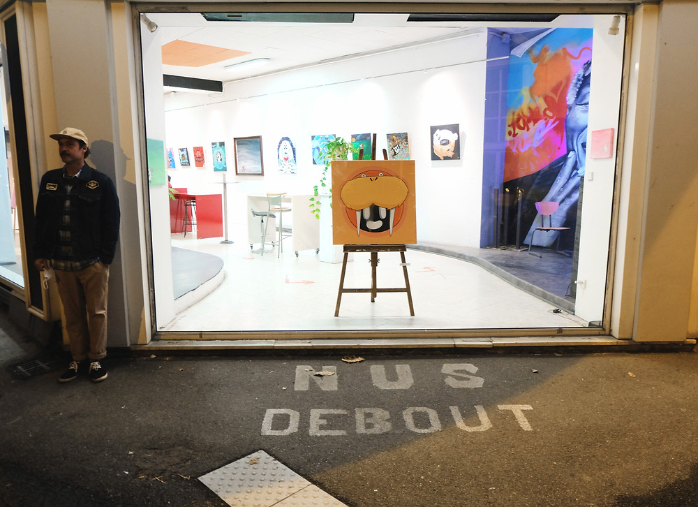 Picture of me and my painting in my contemporary art show in Tarbes, France.