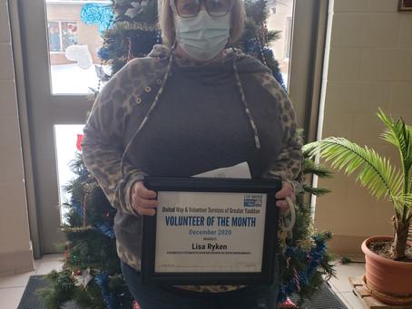 December Volunteer of the Month - Lisa Ryken