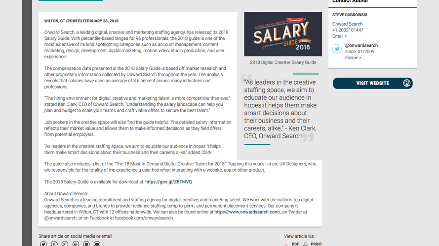 Onward Search Releases Salary Guide for Creative Professionals