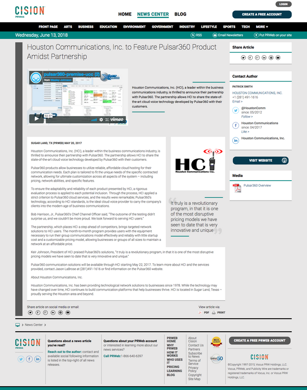 HCI Partners Features Pulsar360 Products Amidst Partnership