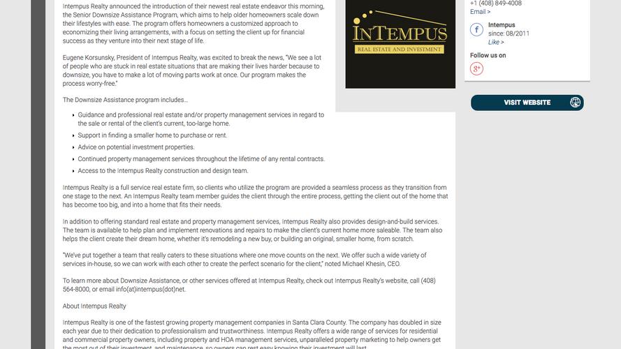 Intempus Introduces Downsize Assistance