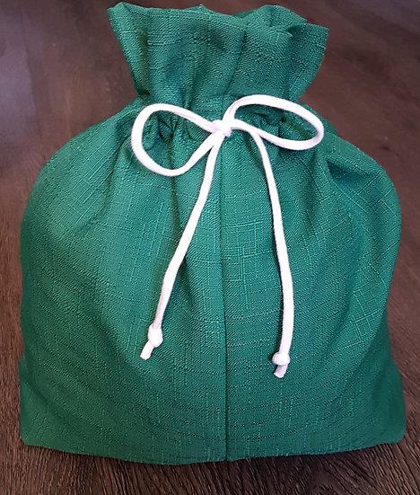 Fabric Gift Bags - Green w/ white drawstring