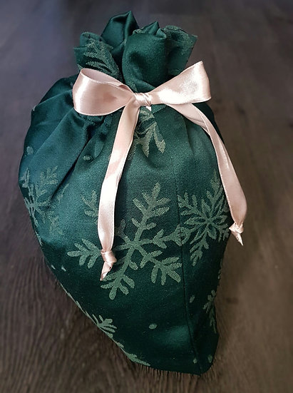 Fabric Gift Bags - Green Snowflakes