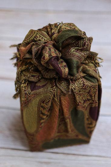 Bojagi Wrap - Green/Purple Paisley Blooms
