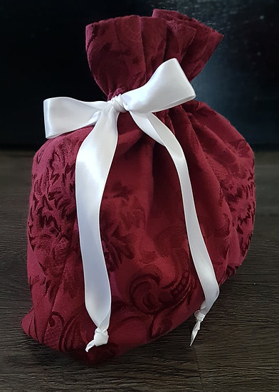Fabric Gift Bags - Burgundy Damask