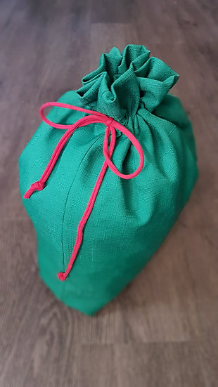 Fabric Gift Bags - Green w/ red drawstring