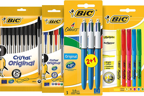 BIC Student Ballpoint Pens, Highlighters and 4 Colour Pens, black