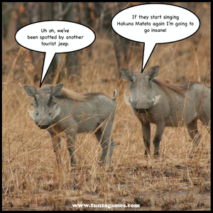 Two Warthogs trying to avoid hearing the Hakuna Matata Song
