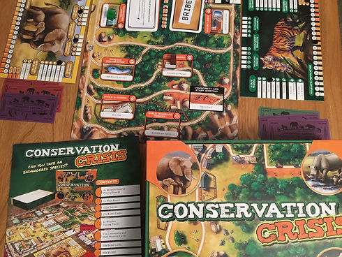 The educational family board game Conservation Crisis being setup ready to play with the family