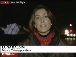 Screen grab of Luisa reporting from the