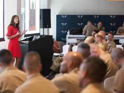 Luisa briefs US Marines on how to handle