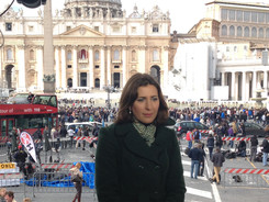 Luisa waiting to go live on BBC News fro