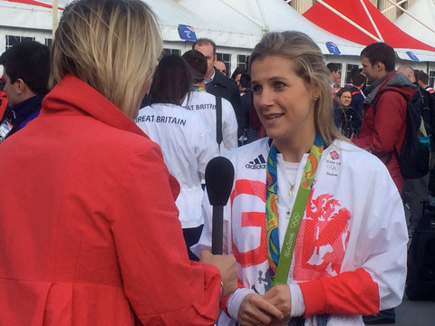 Louisa doing a live interview for BBC Ne