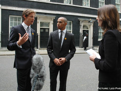 Luisa interviewing Jenson Button and Lew