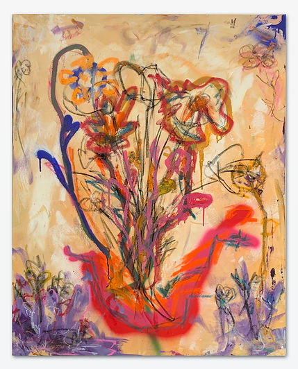 Abstract Flowers with Neon Vase | Orlando Marosini