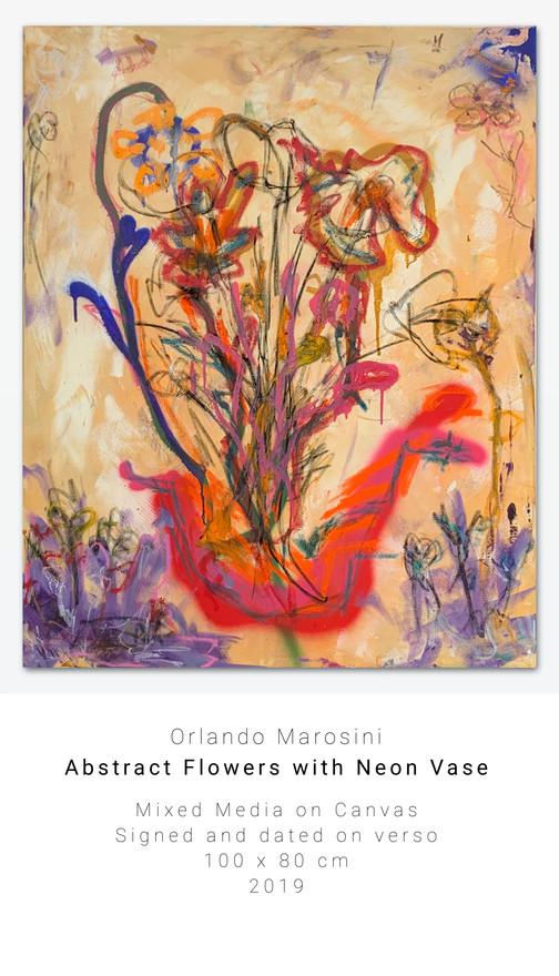 Abstract Flowers with Neon Vase | Orlando Marosini