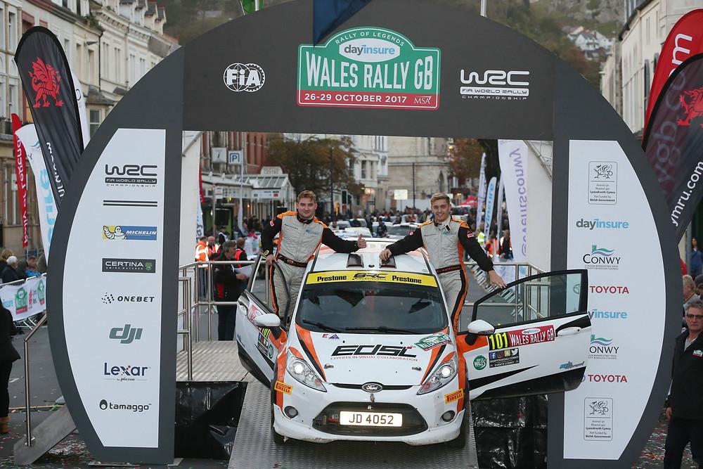 Alex Waterman & Harry Thomas on the Wales Rally GB podium - Image Jakob Ebrey Photography