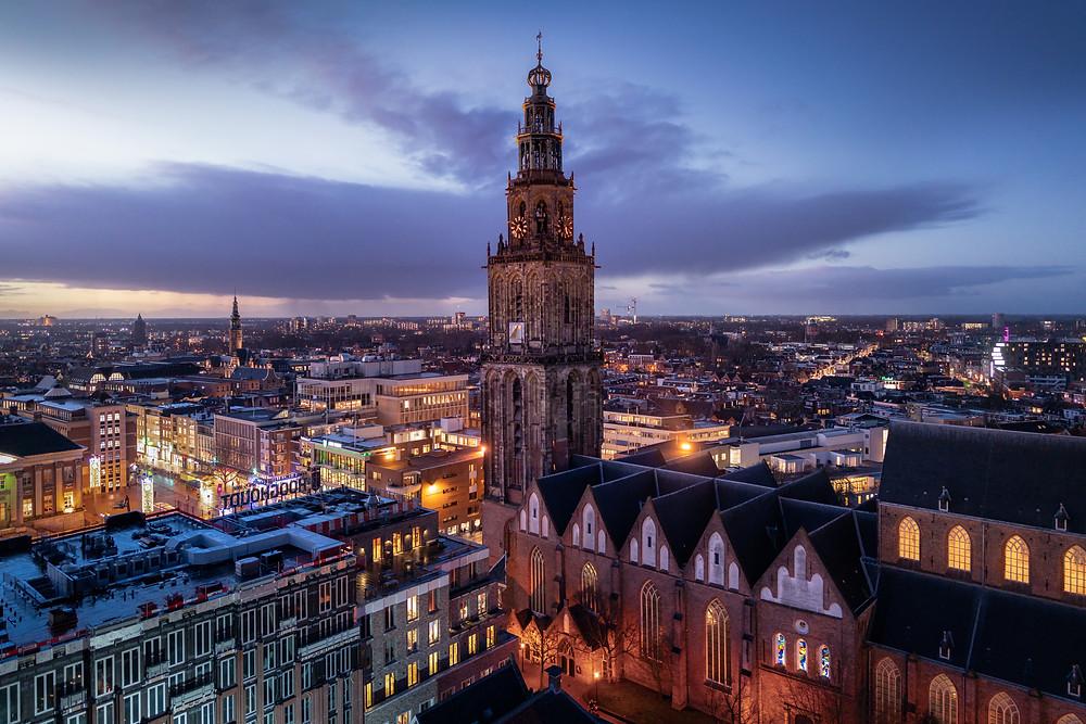 Skyline Groningen, Martinitoren, Martinikerk, Groninger Forum, Groningen