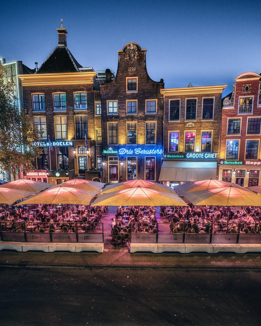 Grote Markt, Drie Gezusters, terrassen, Groningen