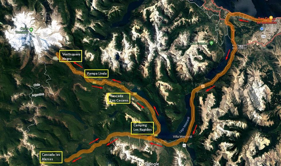 Mapa circuito Cerro Tronador y Cascada los Alerces e bicicleta Mountain Bike MTB | Pampa Linda | Cascada lo Alerces | Cascada los Cesares | Cerro Tronador