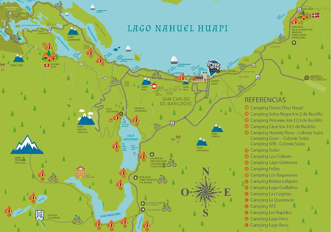 Mapa de campings Bariloche - Mapa de circuitos, rutas, caminos y senderos de bicicleta bariloche