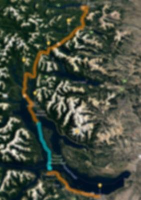 Mapa Circuito Mountain Bike MTB 7 siete lagos con cruce en Barco Catamaran y bosque de arrayanes