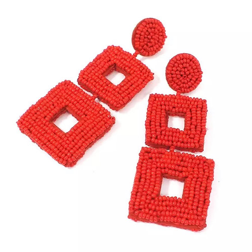 Tiered Beaded Square Earrings