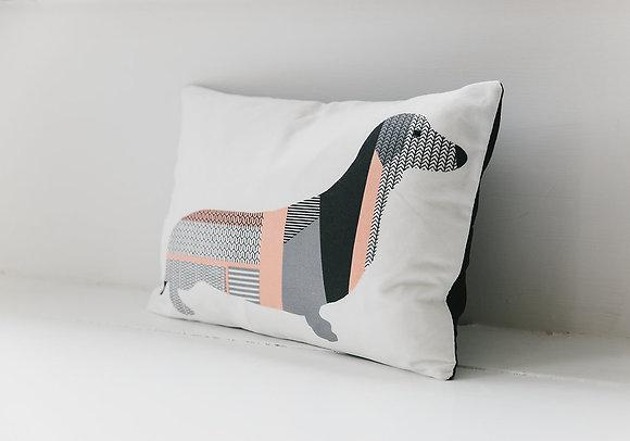Dorris The Dachshund pink cushion