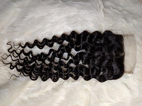 Italian Curly Virgin Human Hair Free Part 4x4 Closure