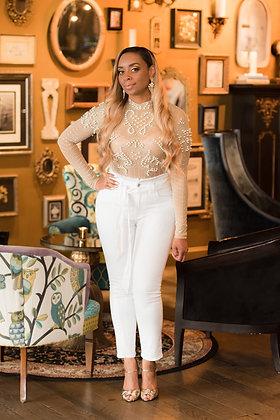 Sheer Pearl Bodysuit (Long-Sleeve)